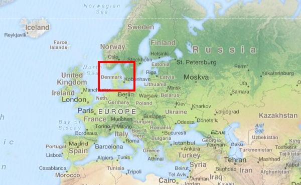 Mapa Dania Europa